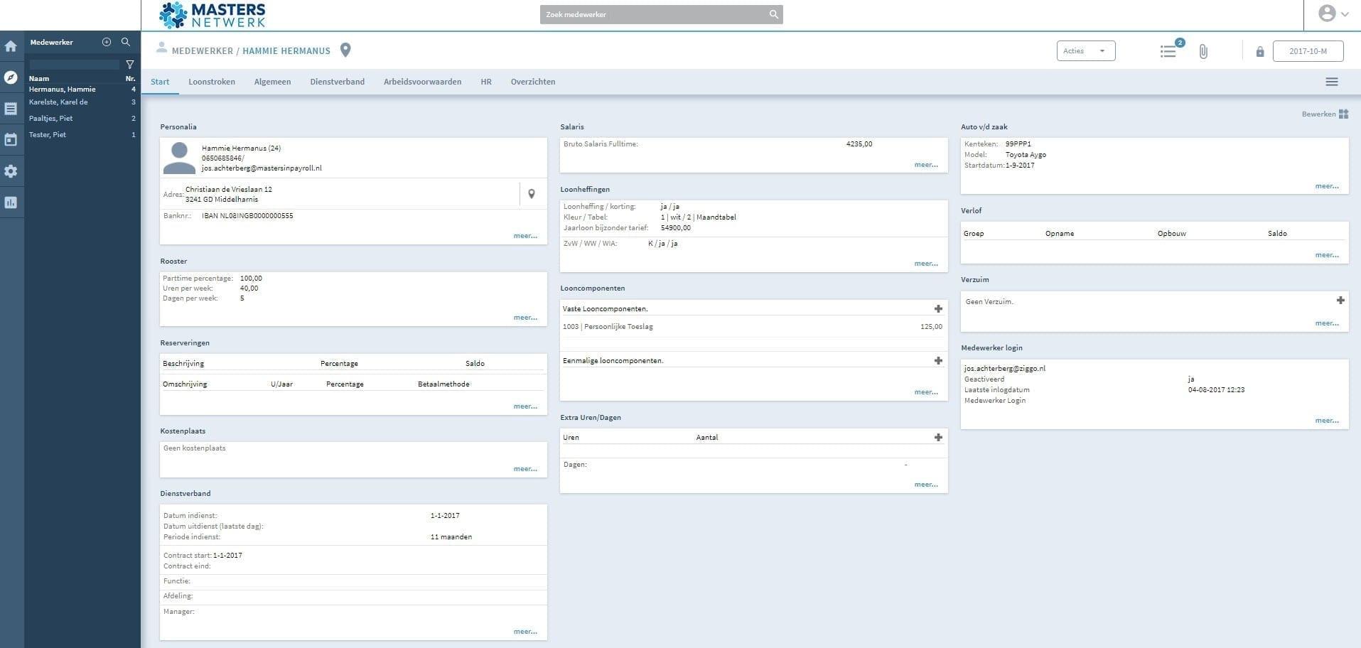 overzicht info per medewerker salaris en personeelsportal managers